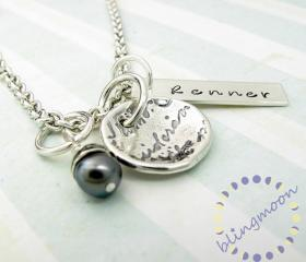 Personalized name necklace - silver link chain with charms - name pendant - black pearl